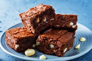 White chocolate macadamia brownie. the toning. selective focus