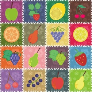 patchwork backgroud with fruits and berries