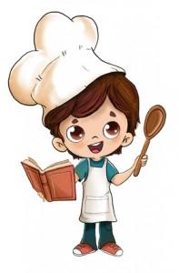 Niño cocinando con un libro de recetas